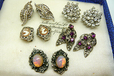 Vintage Jewellery Mixed Lot Of Marcasite Rhinestone Clip On Earrings Various