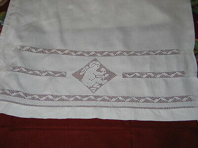 Exquisite Antique c1880s Pillowcase~APPENZELL Embroidery Lace~Cupids~Putti