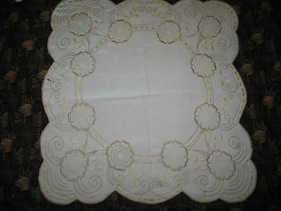 ANTIQUE ROYAL SOCIETY SILK Arts & Crafts Flowers Linen Hand Embroidery