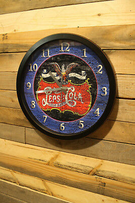Early Logo Pepsi Cola Double Dot Wall Clock 13 inch Non Ticking Sweep Hand Glass