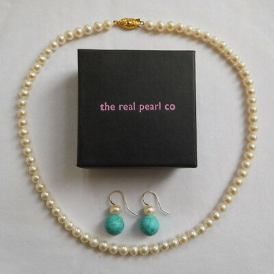Real Cultured Pearl Necklace & Pair of Pearl and Turquoise Earrings Boxed