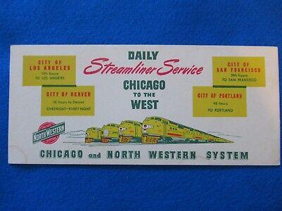 Vintage Chicago And North Western System Railroad Blotter,1950's??near Mint  .
