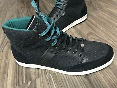 d7bc0147fb65f0 NEW  185 Ted Baker Miykal High Top Wool   Leather Fashion Sneakers Shoes  Size 15