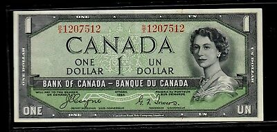 "Canada One Dollar 1954 ""Devil's Face"" Variety p-66a AU"