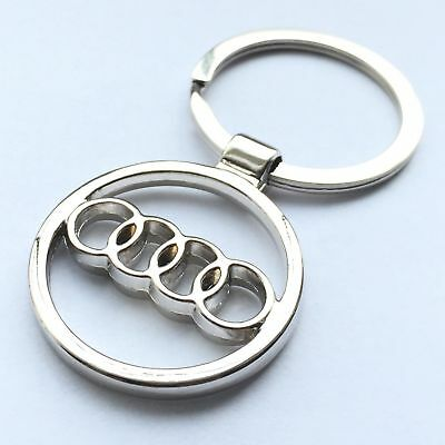 Audi 3D Chromed Car Logos Titanium Key Chain Keychain Ring Keyfob Metal