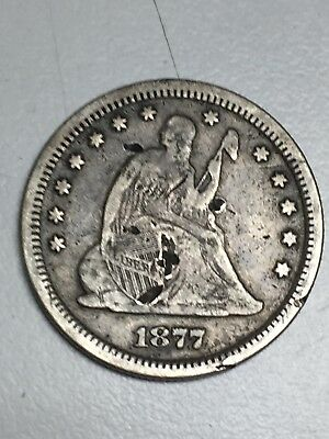 1877 S Seated Liberty Silver Quarter Fine Details Obv Damage