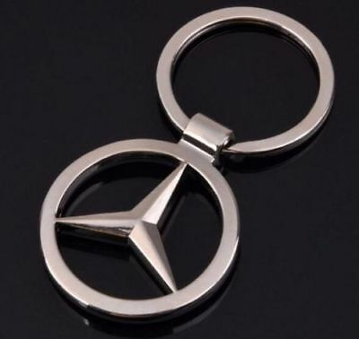 Mercedes Benz 3D Chromed Car Logos Titanium Key Chain Keychain Ring Keyfob Metal