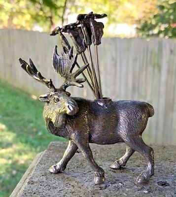 Fabulous Pewter? Moose Hors D'Oeuvres Holder with 6 Spears NR