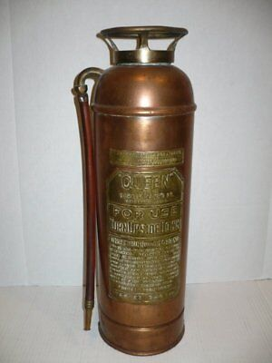 "EMPTY Antique Copper Brass Fire Extinguisher ""Queen"" by HARKER Manf"