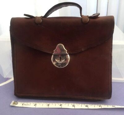VINTAGE 1920s SMALL LEATHER BROWN LOCKING DOCUMENT CASE BAG WITH ORIGINAL KEY