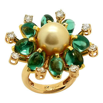 Vintage Art Deco 1.50Ct Diamond Emerald & Pearl 18K Gold Cabochon Flower Ring