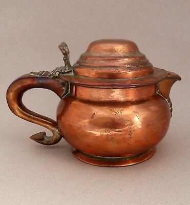 19thC Armorial Lidded Jug ~ Inset George III Coin ~ Worn Silver Plate on Copper