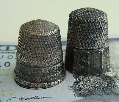 Antique VTG PAIR of STERLING Silver Sewing THIMBLES  Art & Crafts Scroll Detail