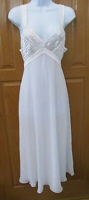 Vintage Flora Nikrooz S  Women's White Sheer Sexy Bridal Long Nightgown