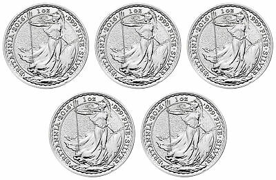 Lot of 5 - 2016 Great Britain 1oz Silver Britannia .999 Fine BU