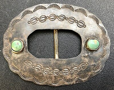 Antique Coin Silver Concho Belt Buckle with Turquoise & Stamping