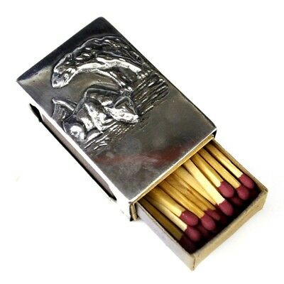 Russian 84 Silver Repose Relief Figural K9 Hound Dog Matchbox Case Holder NR SNG