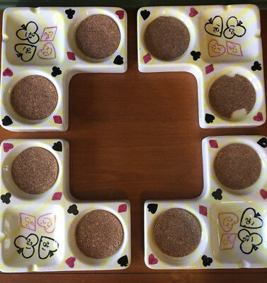 Vintage Mid Century Modern Norcrest Game Card Table Drink Ashtray Cork Inserts