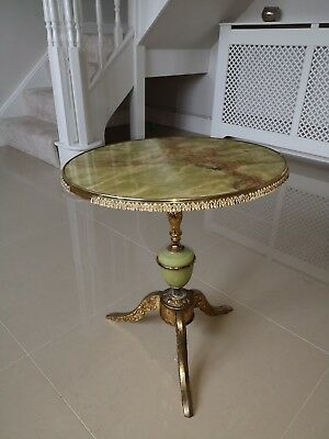 Antique ~Vintage ~Circular Brass Top Table ~Side Table ~Coffee Table ~Twist Leg