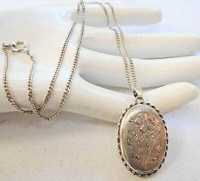 Good quality vintage sterling silver locket pendant + sterling silver chain