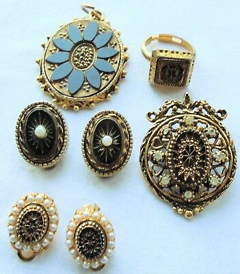Two pairs gold metal & gilded French jet antique design earrings + brooch + 2