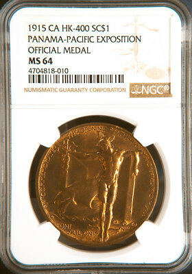 1915 Panama Pacific Expo Official Medal, HK400, MS64 NGC, PPIE Token, World Fair