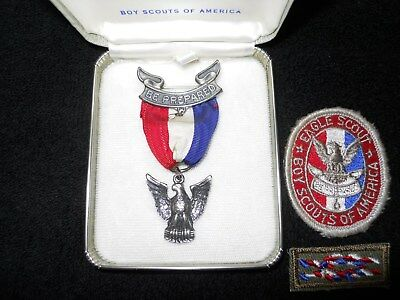 """Vintage Eagle Scout Sterling Silver Award / Medal """"Be Prepared"""" Boy Scouts BSA"""