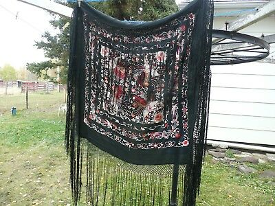 Antique Chinese Embroidered Silk Shawl.