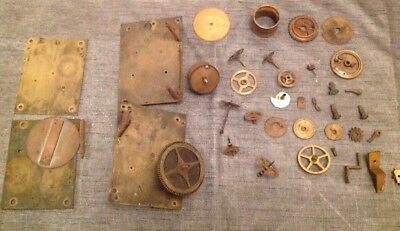 Antique Clock Incl. Longcase  Parts Cogs Click Wheels Back Cock Movement Plates