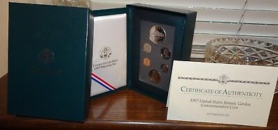 1997 Prestige US Proof coin Set BOTANIC GARDEN has 90% Silver Dollar IN BOX +COA