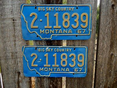 Montana 1967 Matching Set Of Automobile License Plates - Must See!