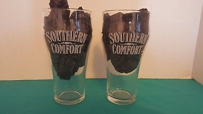 """Southern Comfort White Logo Cocktail Glasses """"Soda Fountain Style"""" Set of 2"""