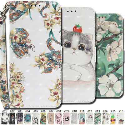 For Samsung Galaxy A8(2018) Wallet Strap Magnetic Stand PU Leather 3D Case Cover