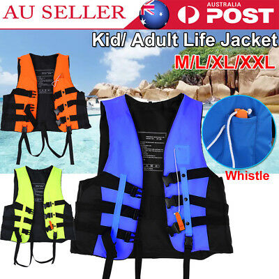 Kid/Adult Universal Life Jacket Kayak Canoe Sailing Buoyancy Aid Vest Whistle AU