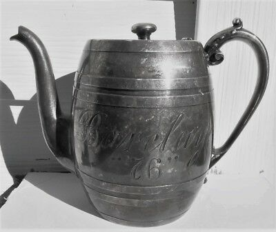 "BARCLAY ""76"" Whiskey Silver Plate Bar Room Saloon Pre Prohibition Water Pitcher"