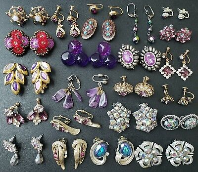 23pair Vtg Purple Rhinestone Earrings Lot CORO TRIFARI SARAH COV W GERMANY GG14