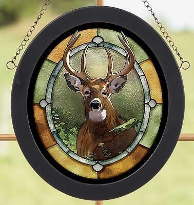 Whitetail Deer Stained Glass Art by Jon Ren