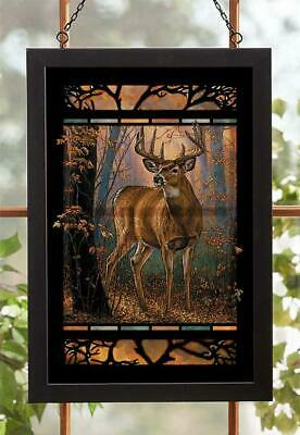 Woodland Mist - Whitetail Deer Stained Glass Art by Rosemary Millette