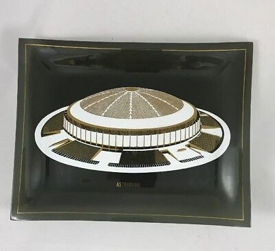 """Houston Astros Astrodome Gold and White on Rectangle  Smoked Glass Dish 9"""" X 7"""""""