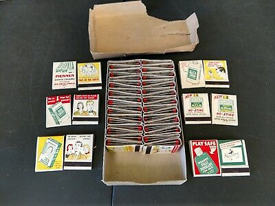 Vintage Box Of 50 Full Matchbooks Mennen Shaving Products 1950s Advertising