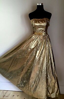 1c08fb6146e Vtg GUNNE SAX 80s Gold Metallic Strapless Formal Prom Party Dress Gown Size  7 Sm