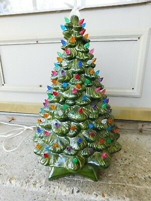 Vintage Ceramic Two Piece Lighted Christmas Tree W/ Ton Of Lights