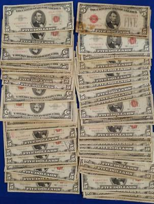 """86-US $5 United States Notes """"RED SEALS"""" 1928/53/63     L2764"""