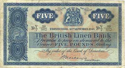 Scotland British Linen Bank 5 Pounds Currency Banknote 1946