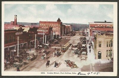 Linden Street Fort Collins CO Colorado Early 1908 Postcard