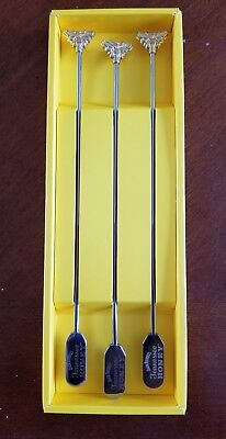 Jack Daniels Tennessee Honey Whiskey Set 6 Metal Bar Stir Rods Sticks NEW