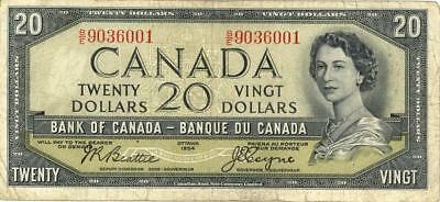 """Canada $20 Dollars Currency Banknote """"Devil's Head"""" 1954"""