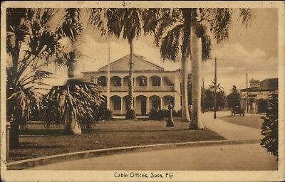 Suva Fiji Cable Offices Used c1915 Postcard w/ Cover