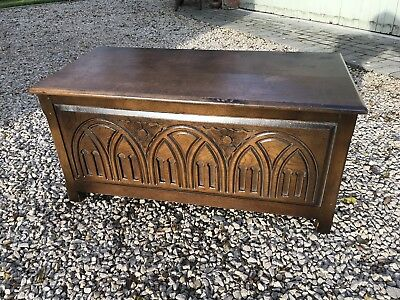 Vintage Carved Solid Oak Blanket Box Coffer Trunk Storage Chest Paint Shabby Ch