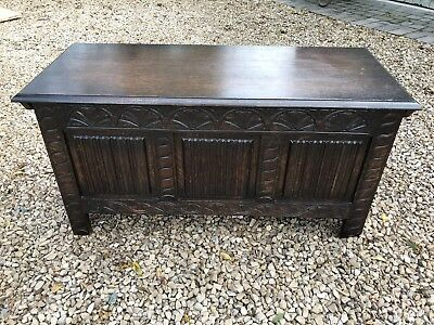 Vintage Linenfold Carved Solid Dark Oak Blanket Box Coffer Trunk Storage Chest